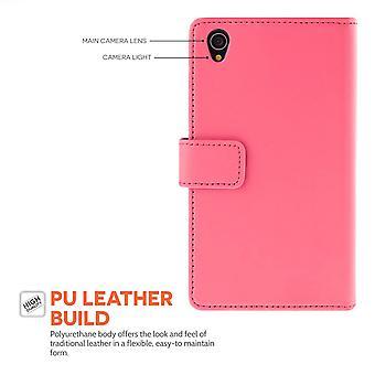 Sony Xperia E cuero-efecto cartera caso - rosa