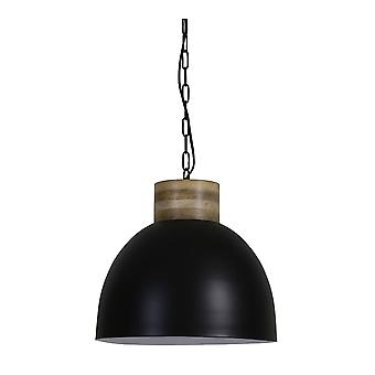 Light & Living Hanging Pendant Lamp D40x36cm Samana Matted Black White And Wooden Top