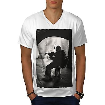 Street Artist Old Music Men WhiteV-Neck T-shirt | Wellcoda