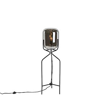 QAZQA Floor Lamp Bliss Floor Lamp Black with Smoke Shade