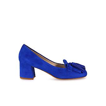 FRANCO COLLI CORNFLOWER BLUE HEELED LOAFERS