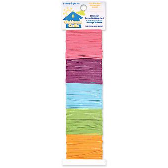 Clubhouse Crafts Cotton Braiding Cord-Tropical - 5yd Each of 5 Colors