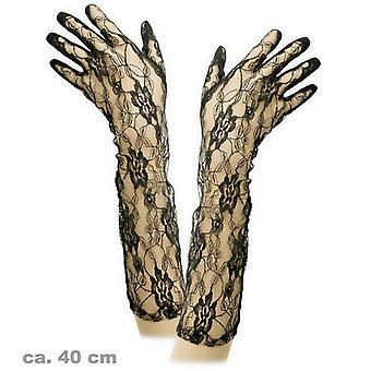 Kanten handschoenen lang zwart accessoire 40 cm