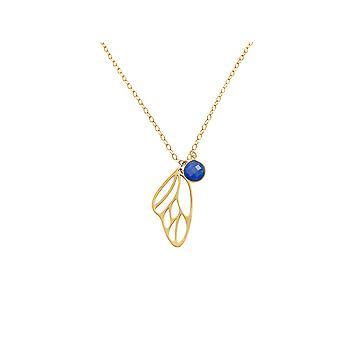 Gemshine - damas - collar - colgante - plata 925 - dorado - mariposa de alas - zafiro - azules - 45 cm