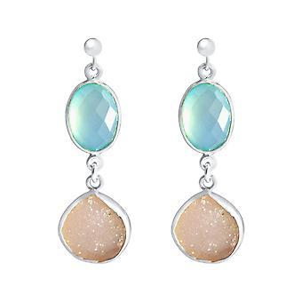 Gemshine - ladies - earrings - 925 sterling silver - DRUZY - white - quartz - chalcedony - Aqua - 4 cm