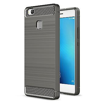 Huawei P9 Lite TPU case carbon fiber optics brushed protection cover grey