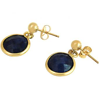 Ladies - earrings - 925 Silver - gold plated - sapphire - blue - 2 cm