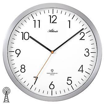 Atlanta 4382/4 wall clock radio radio controlled wall clock analog silver round quietly without ticking