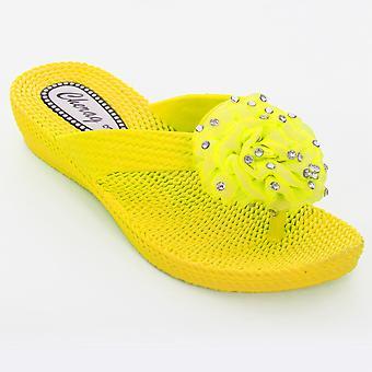 Ladies Diamante Flower Corsage Flip Flop Low Heel Women's  Comfort Sandals