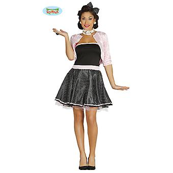 50s Rock n roll ladies dress with dots in black and white skirts Billy costume Carnival