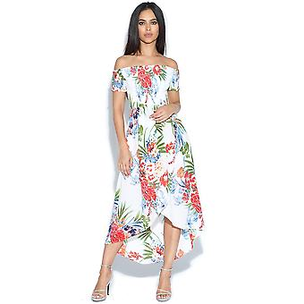 Tropical Print Dipped Hem Bardot Dress
