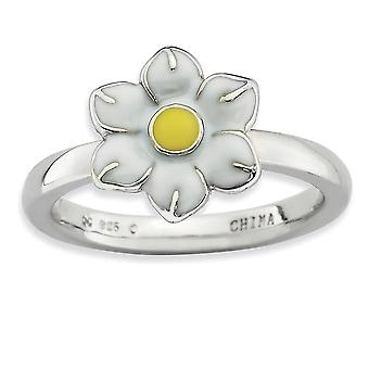 Sterling Silver Enamel Polished Rhodium-plated Stackable Expressions Narcissus Ring - Ring Size: 5 to 10