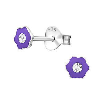 Blume - 925 Sterling Silber Crystal Ohrstecker - W17815X