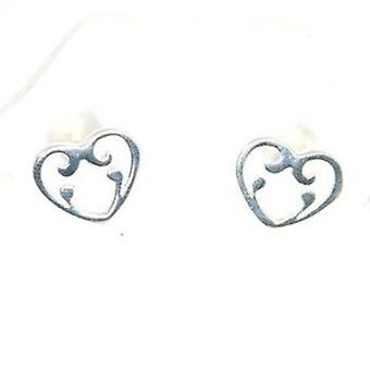 TOC Sterling Silver Ornate Design Heart Stud Earrings 12mm