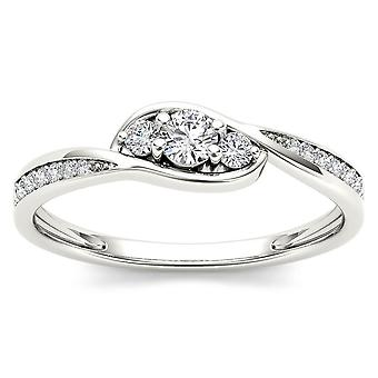IGI Certified 14k White Gold 0.22 Ct Diamond Three Stone Engagement Ring