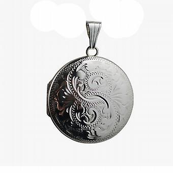 Silver 29mm ręcznie grawerowane okrągły medalion