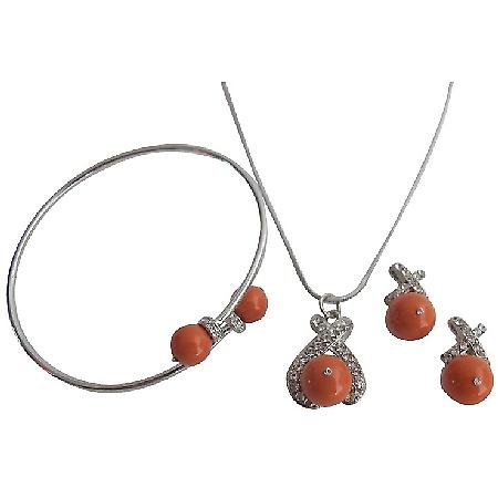 Fall Color Orange Pearls Swarovski Coral Pearls Set with Bracelet