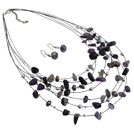 Purple Sequare Beads Silver Beads Multi Strand Necklace Earrings Set BridesmaidGift