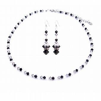 Dreifarbige Swarovski Kristalle Jet Black Diamond klare Swarovski-Schmuck