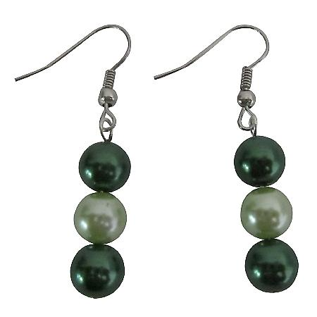 Simulated 8mm Lite & Dark Green 2 Colors Pearls Beautiful Earrings