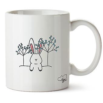 Hippowarehouse Bunny Rabbit Flora afgedrukt mok Cup keramiek 10oz