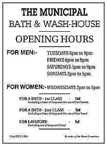 Municipal Wash House Opening Hours enamelled steel wall sign