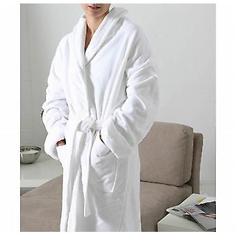Luxus weichen Velours Bademantel aus Baumwolle - weiß nur