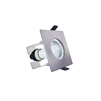 Integral - LED Fire Rated Static Downlight Spotlight Square Satin GU10 Holder Bracket Satin Nickel IP65 - ILDLFR70D010