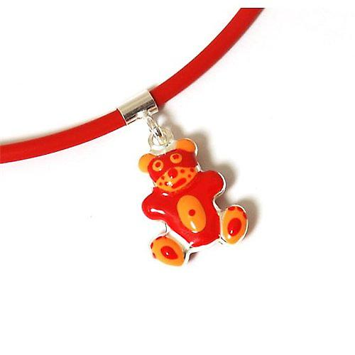 """TOC Girls Sterling Silver Orange/Red Teddy Bear Pendant Necklace 16"""""""