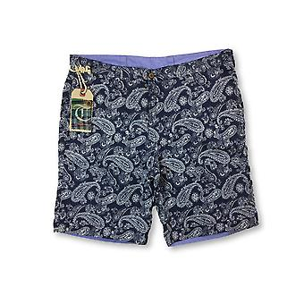 Tailor Vintage Reversible Shorts in navy paisley/lilac
