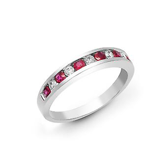 Jewelco London 18ct White Gold Channel Set Round H SI 0.18ct Diamond and Round Red 0.36ct Ruby Half Eternity Ring 3.5mm