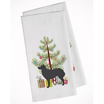 Kroatische Schäferhund Frohe Weihnachtsbaum weiß Küche Handtuch Set von 2