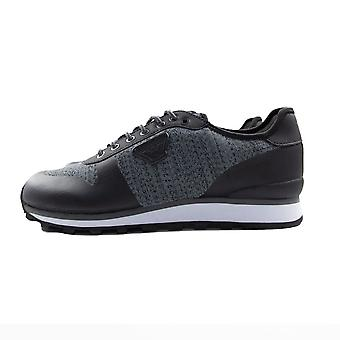 Armani Jeans Knit Trainers Dark Grey