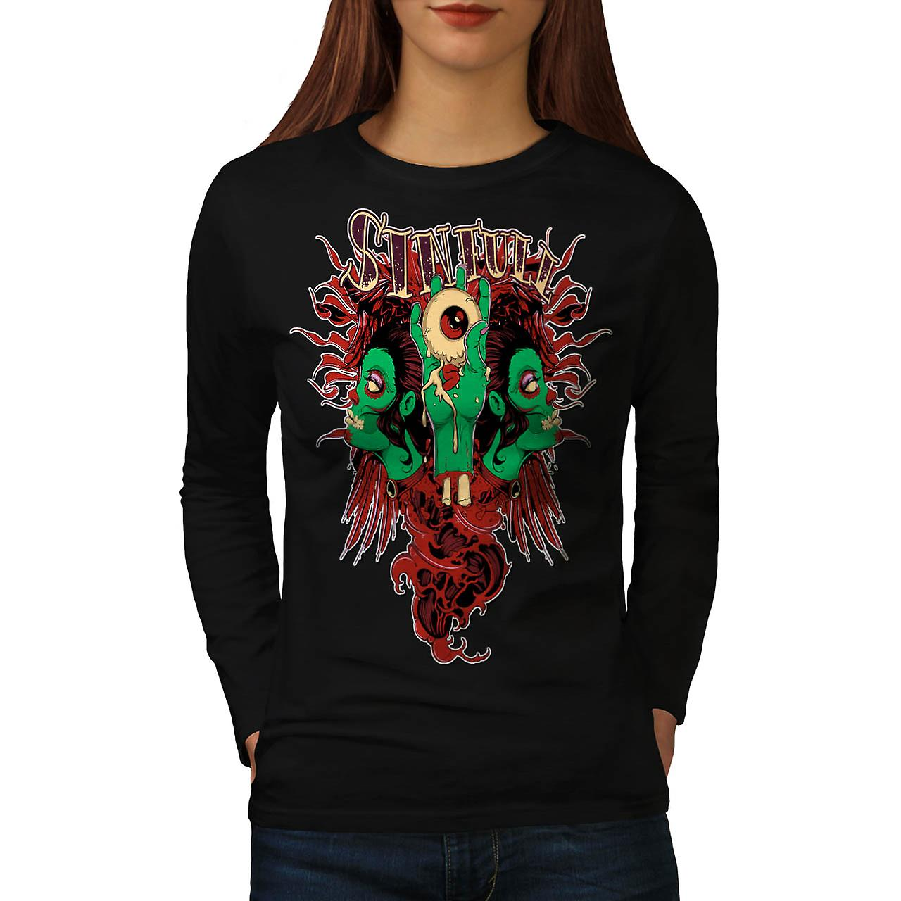 Sinful Monster Head Devil Eye Women Black Long Sleeve T-shirt | Wellcoda
