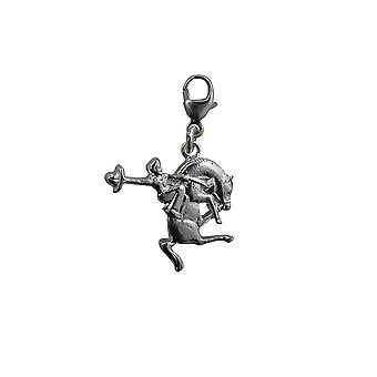 Silver 19x16mm Rodeo Charm with a lobster catch