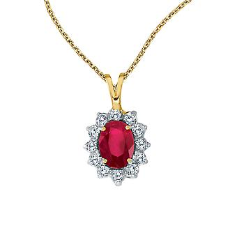 14k Yellow Gold Oval Ruby Pendant with Diamonds and 18