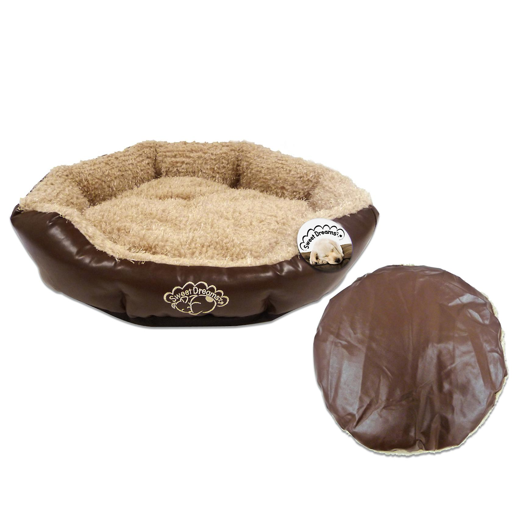 Deluxe Faux Leather Fleece Padded Dog Bed & Reversible Cushion by World of Pets