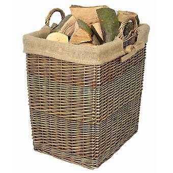 Wicker Rectangular Log Basket with Lining