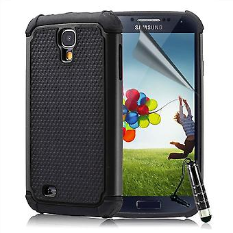 Shock proof Case Cover For Samsung Galaxy S4 i9500 + Touch Stylus - Black