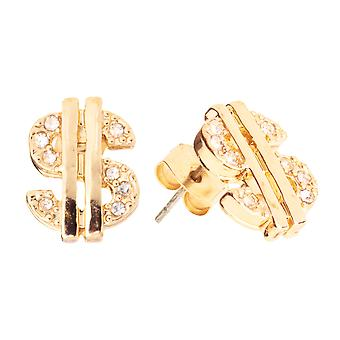 Iced out bling earrings box - DOLLAR SIGN gold