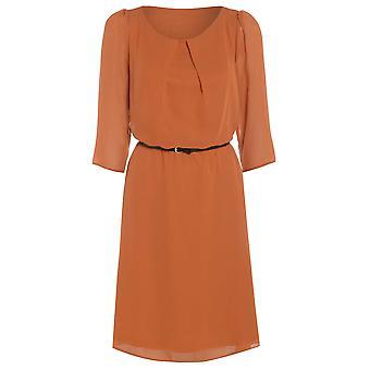 Damen Gürtel flowy chiffon-Kleid DR880-Orange-8