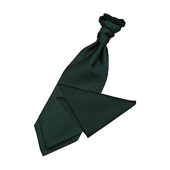 Dark Green Greek Key Wedding Cravat & Pocket Square Set