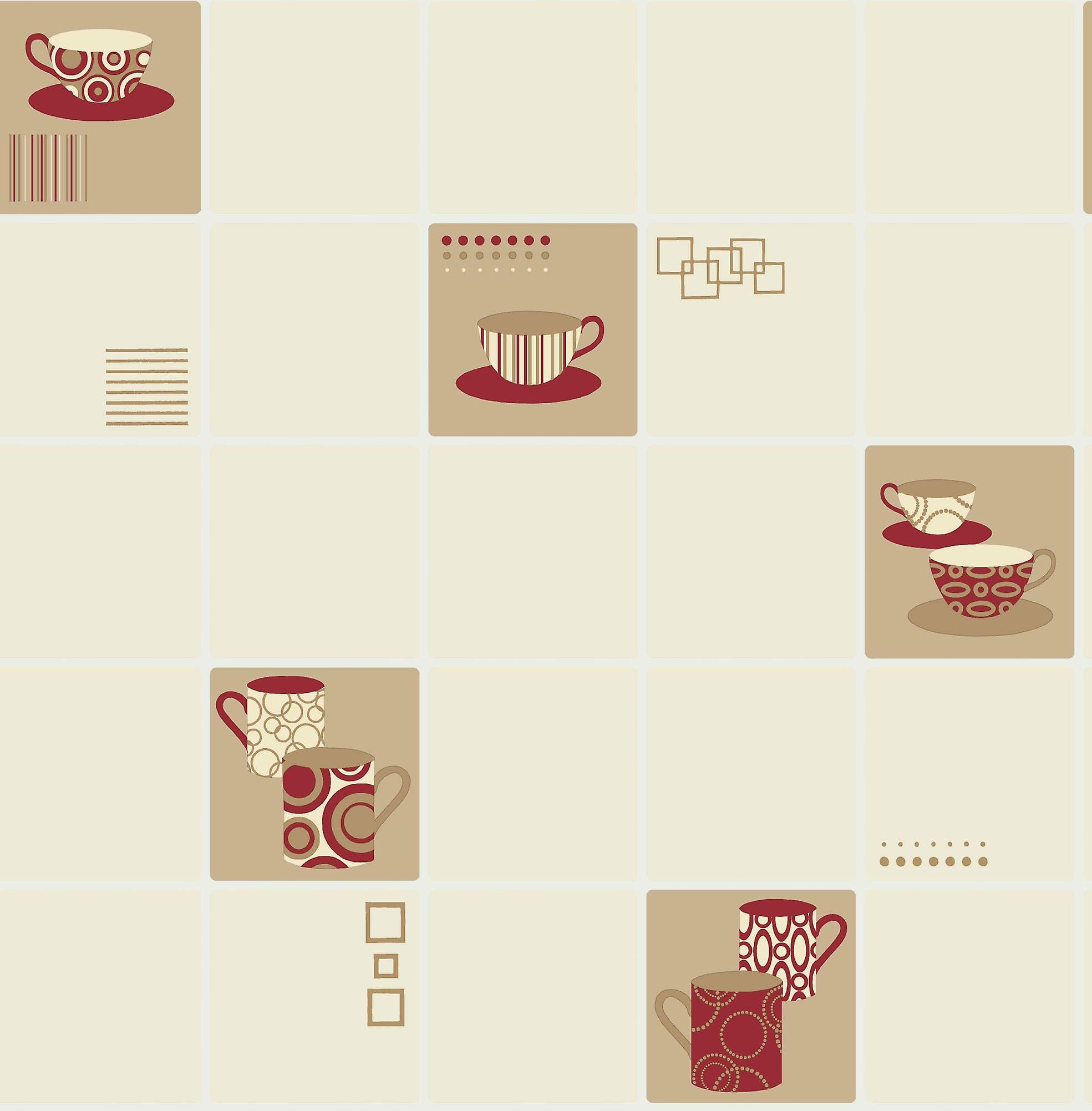 Ceramica Tile effect Cream/Red Coffee Cup Wallpaper Kitchen FD13031
