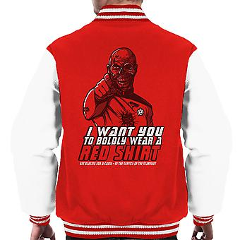 Red Shirt Zombie Star Trek Men's Varsity Jacket