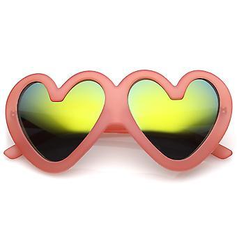 Occhiali da sole Oversize carina cuore opaco finitura specchio lente 55mm
