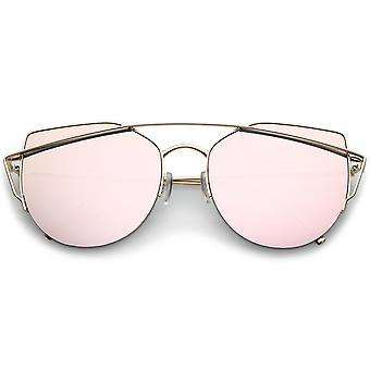 Women's Semi Rimless Metal Brow Bar Round Mirrored Flat Lens Cat Eye Sunglasses
