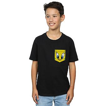 Looney Tunes pojkar Tweety Pie Face Faux Pocket T-Shirt