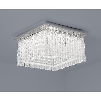 LED ceiling lamp Aurora square K5 glass crystals 36x36cm 21W 4000 K chrome 10735
