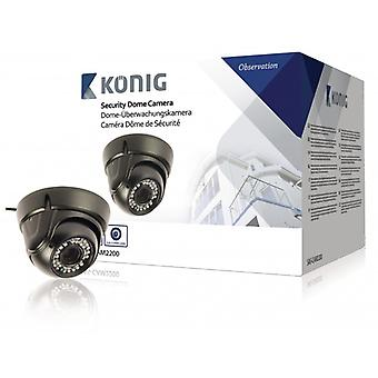 König Dome surveillance camera IP66 700 TVL Black