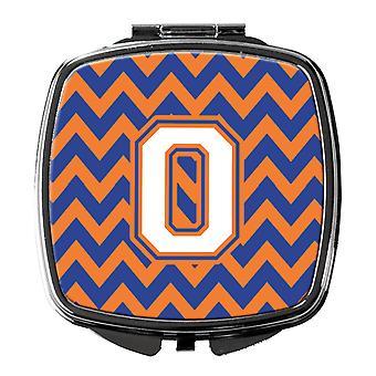 Buchstabe O Chevron blau und Orange #3 Kompakt-Spiegel